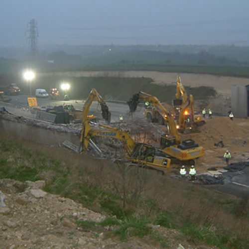A1 Bridges Demolition, Yorkshire